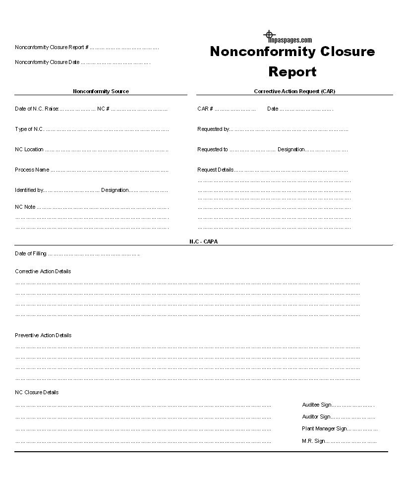 Nonconformity Closure Report Format With Closure Report Template
