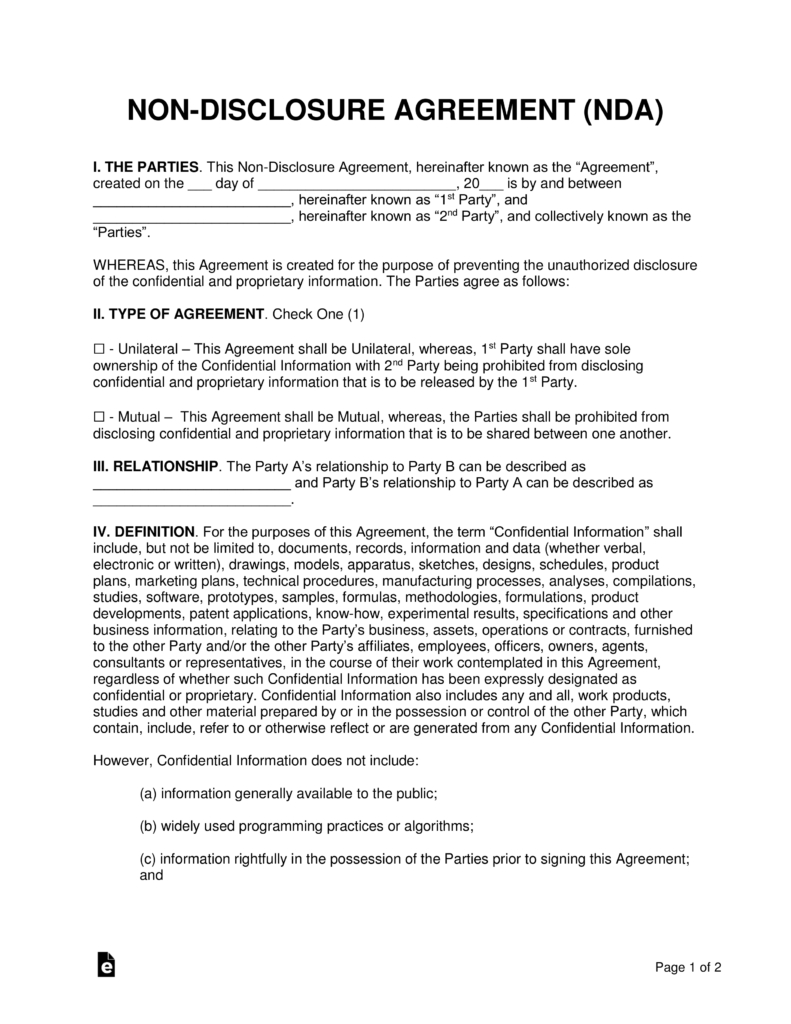 Nondisclosure Nda Agreement Templates  Eforms – Free Fillable Forms Pertaining To Unilateral Non Disclosure Agreement Template