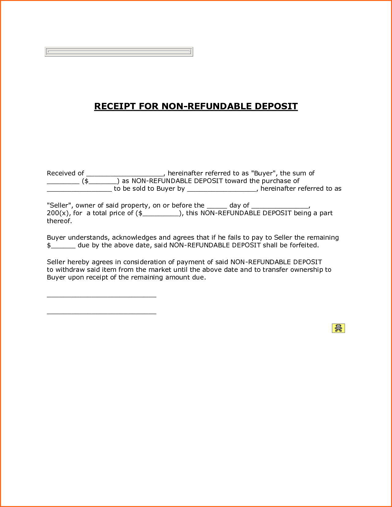 Nonrefundable Deposit Or Down Payment Receipt Template Example Intended For Non Refundable Deposit Agreement Template