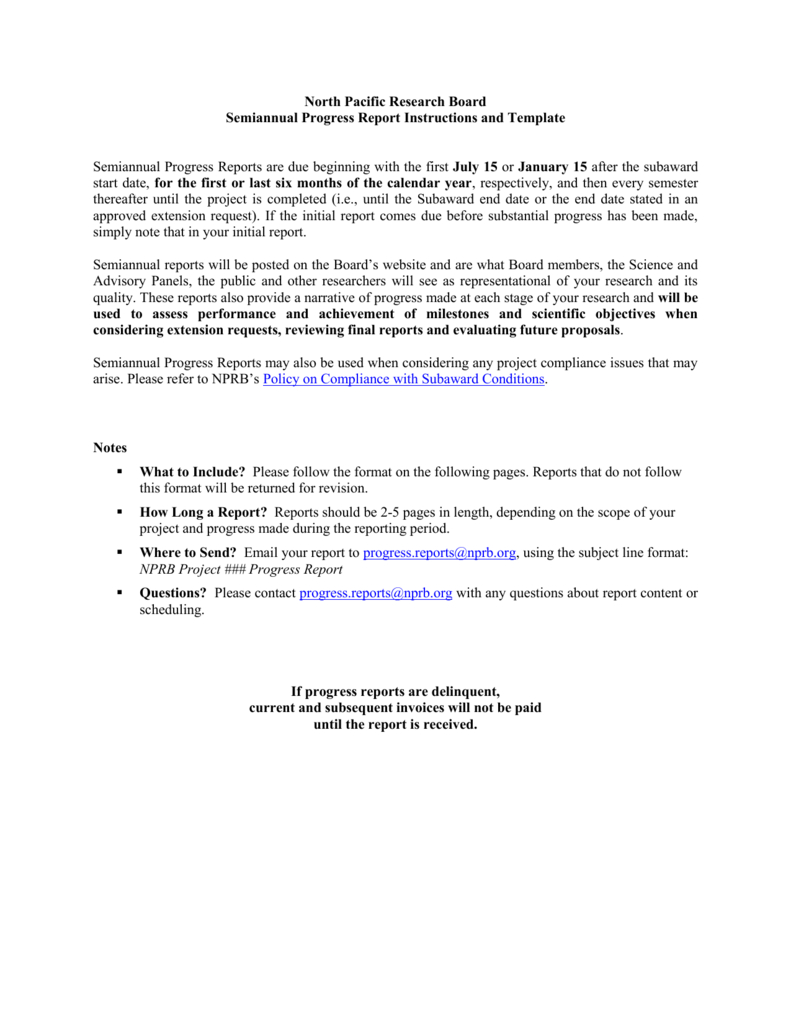 Nprb Progress Report Template  North Pacific Research Board With Regard To Research Project Report Template