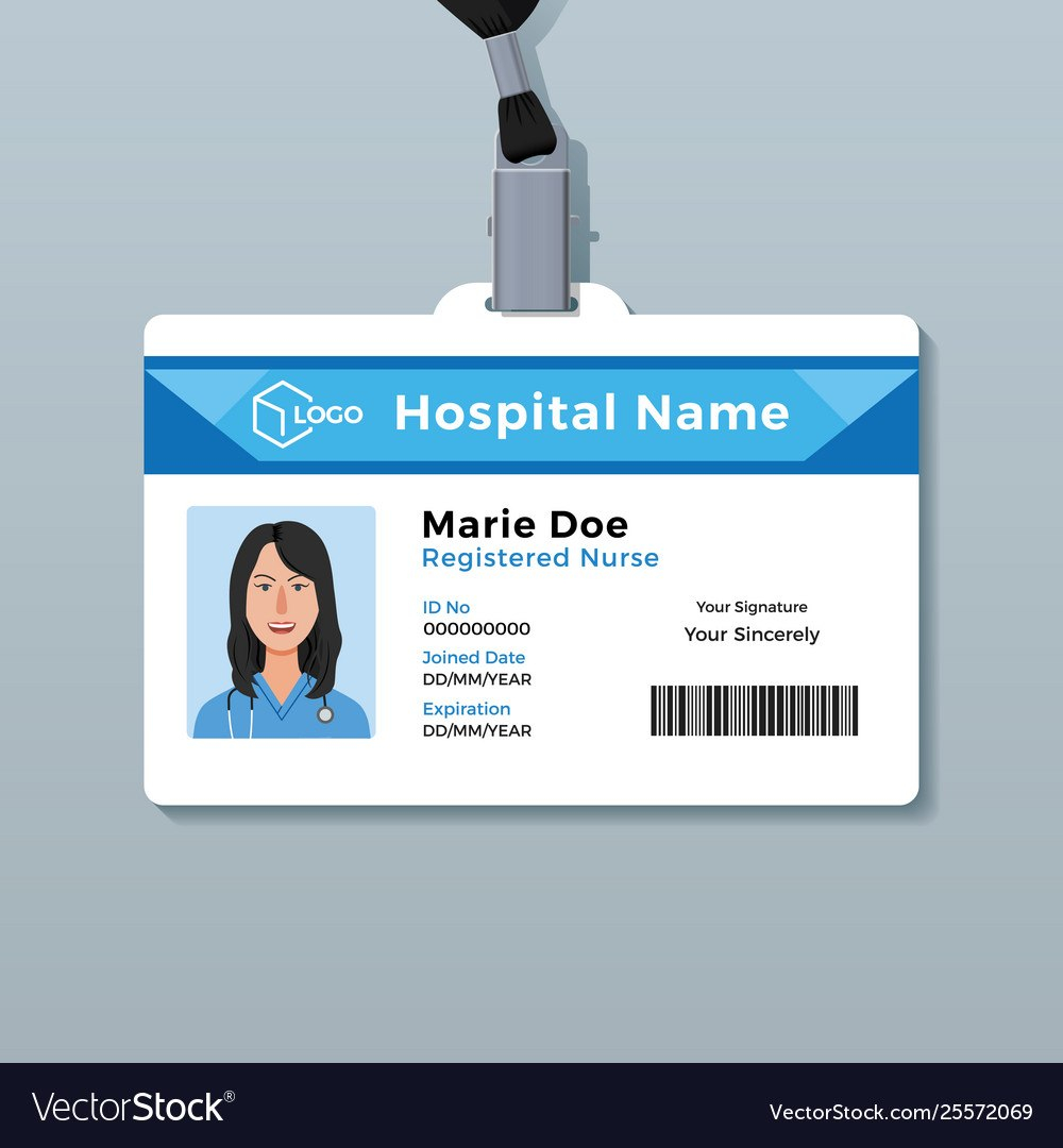 Nurse Id Card Medical Identity Badge Template Vector Image Within Hospital Id Card Template