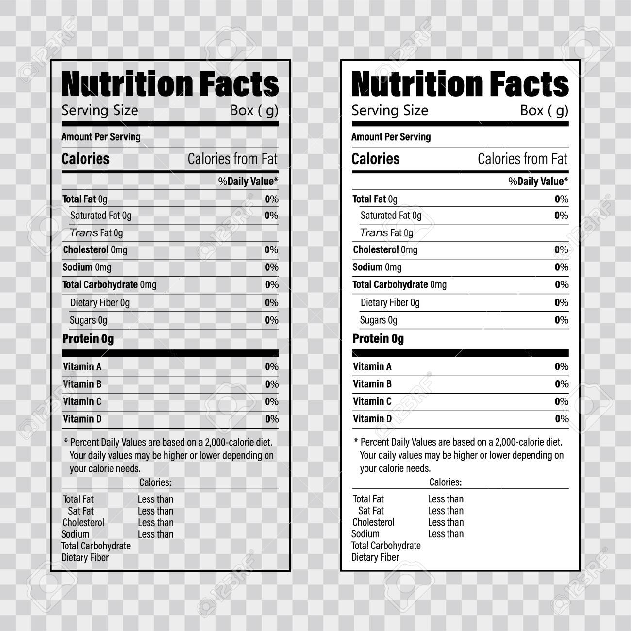 Nutrition Facts Information Label Template Daily Value Ingredient In Ingredient Label Template