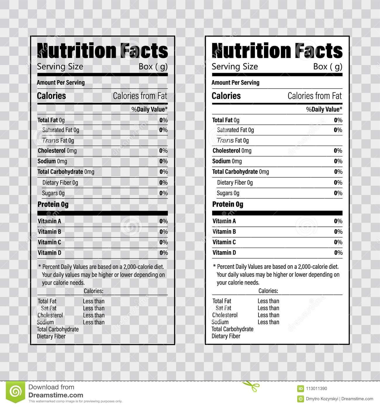 Nutrition Facts Information Label Template Daily Value Ingredient Pertaining To Z Label Template