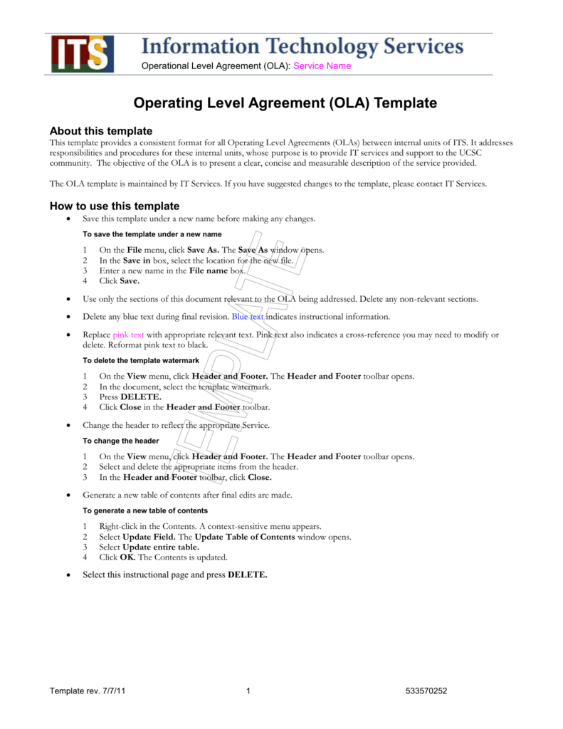 Ola Template  Information Technology Services Intended For Information Technology Service Level Agreement Template