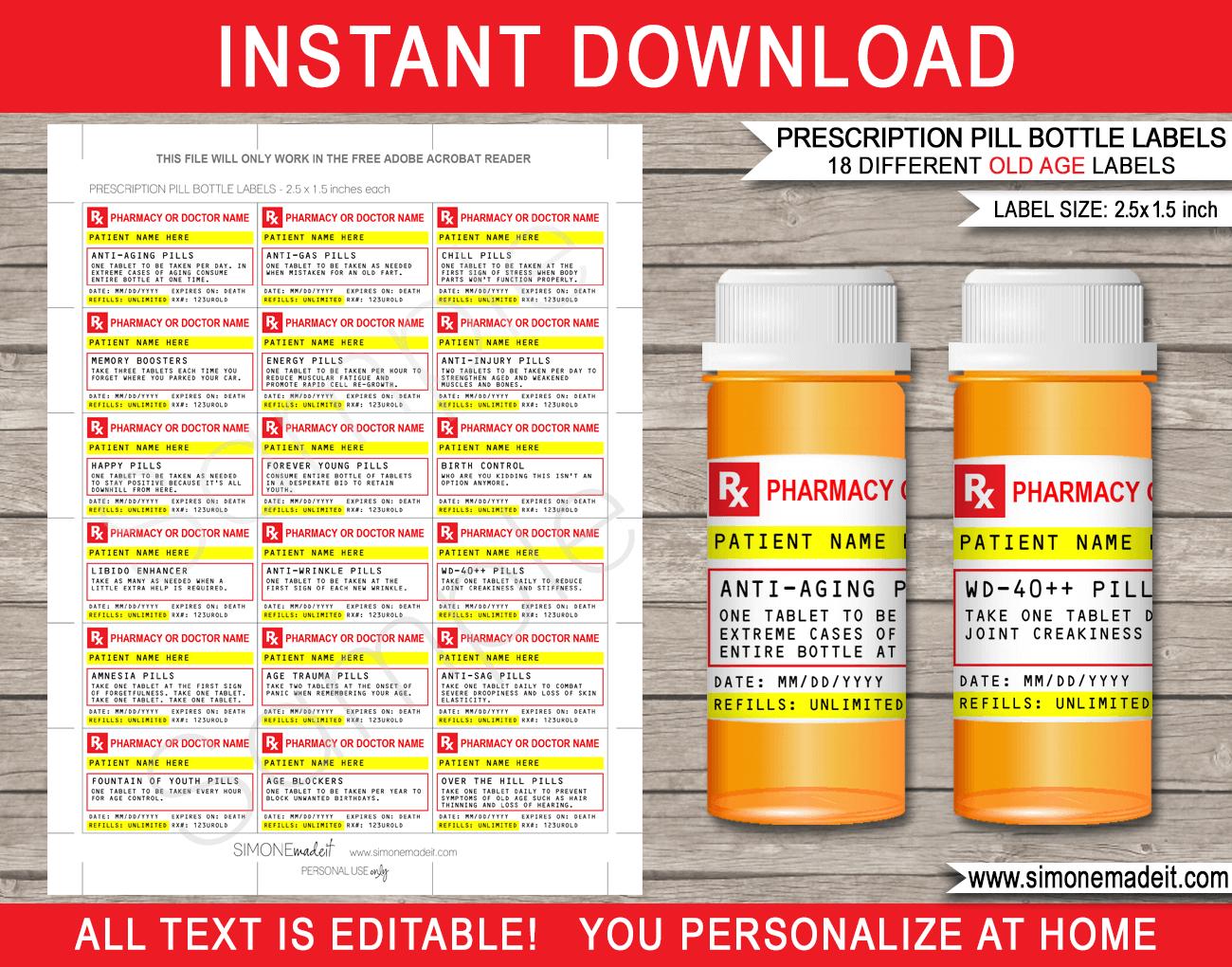 Old Age Prescription Pill Bottle Labels  Gag Gift  Fake Pharmacy Label Pertaining To Pill Bottle Label Template