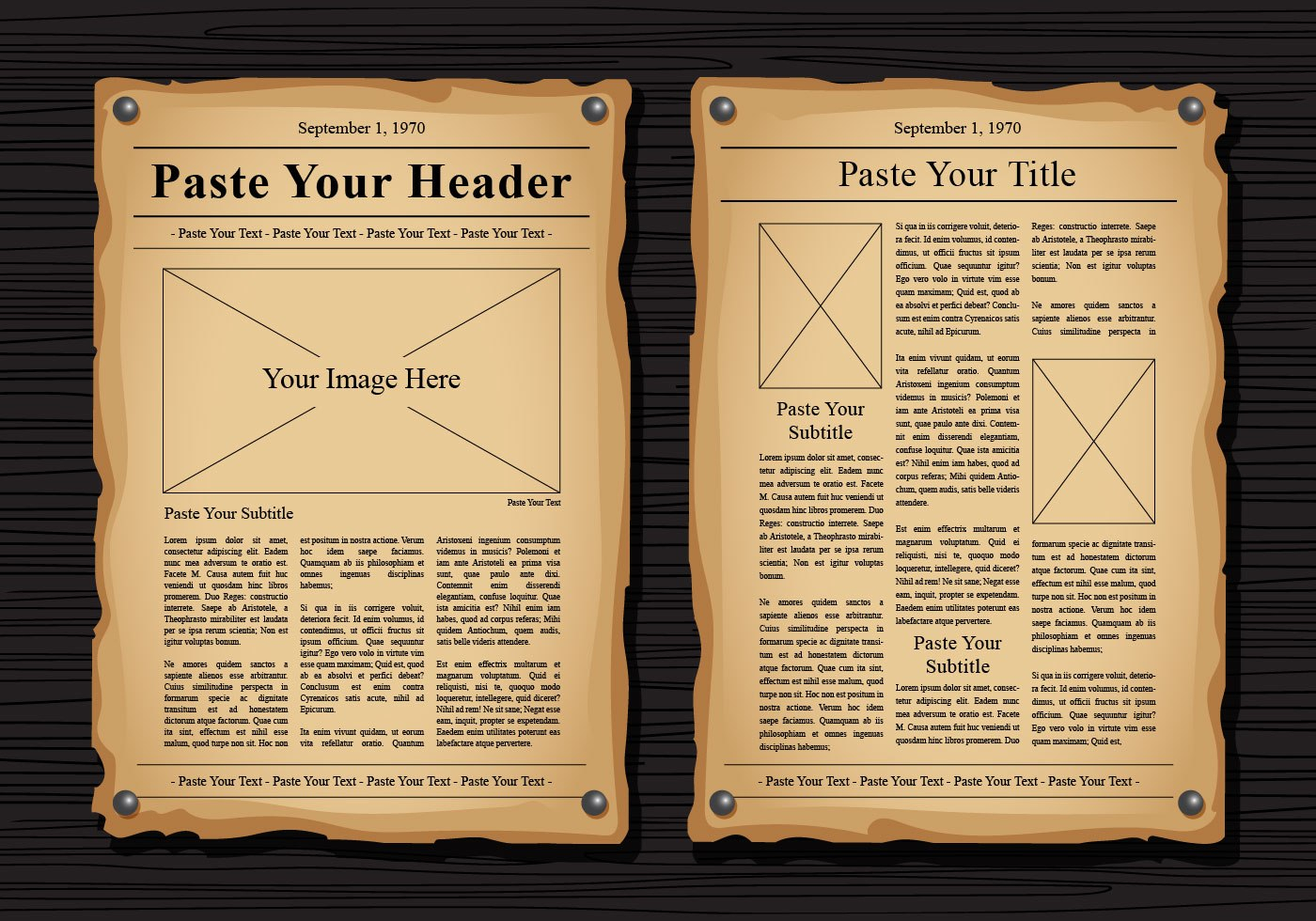 Old Newspaper Vector Templates  Download Free Vector Art Stock With Regard To Old Blank Newspaper Template