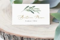 Olive  Gold Place Card Template Instant Download within Printable Escort Cards Template
