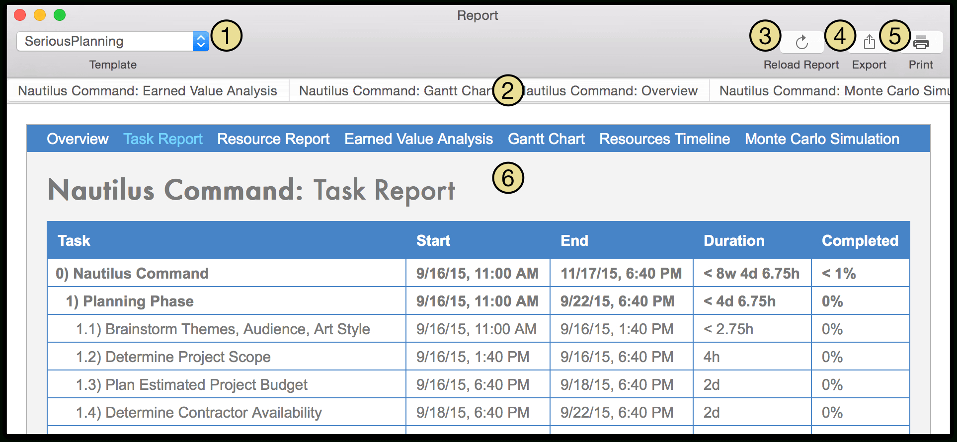 Omniplan  For Mac User Manual  Reporting And Printing For Html Report Template Download