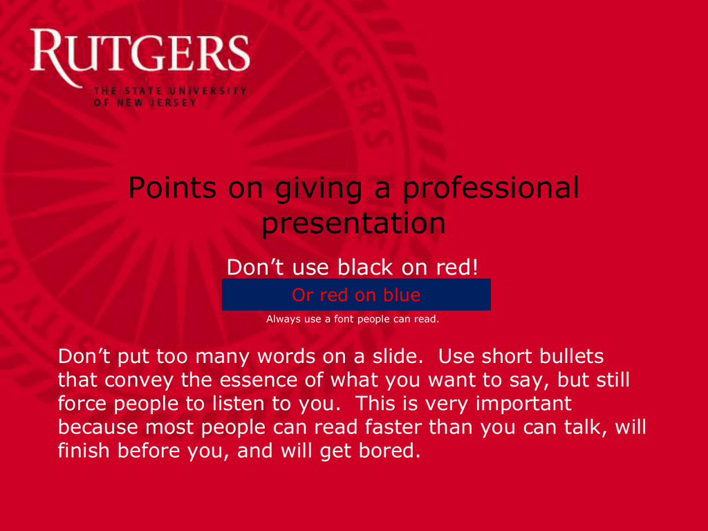 On Giving A Good Talk  Department Of Food Science In Rutgers Powerpoint Template