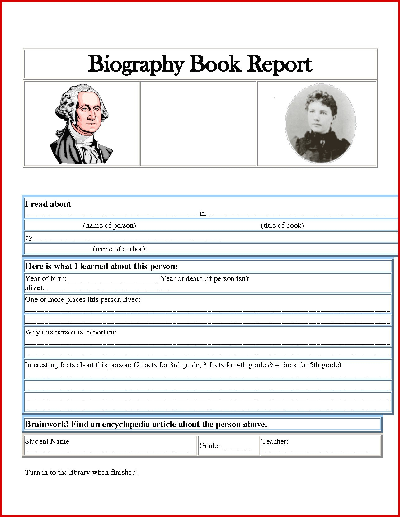One Page Book Report Template New Awesome Author Biography Of Intended For One Page Book Report Template