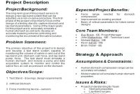 One Page Project Er Template Overview Executive Summary Excel regarding One Page Book Report Template