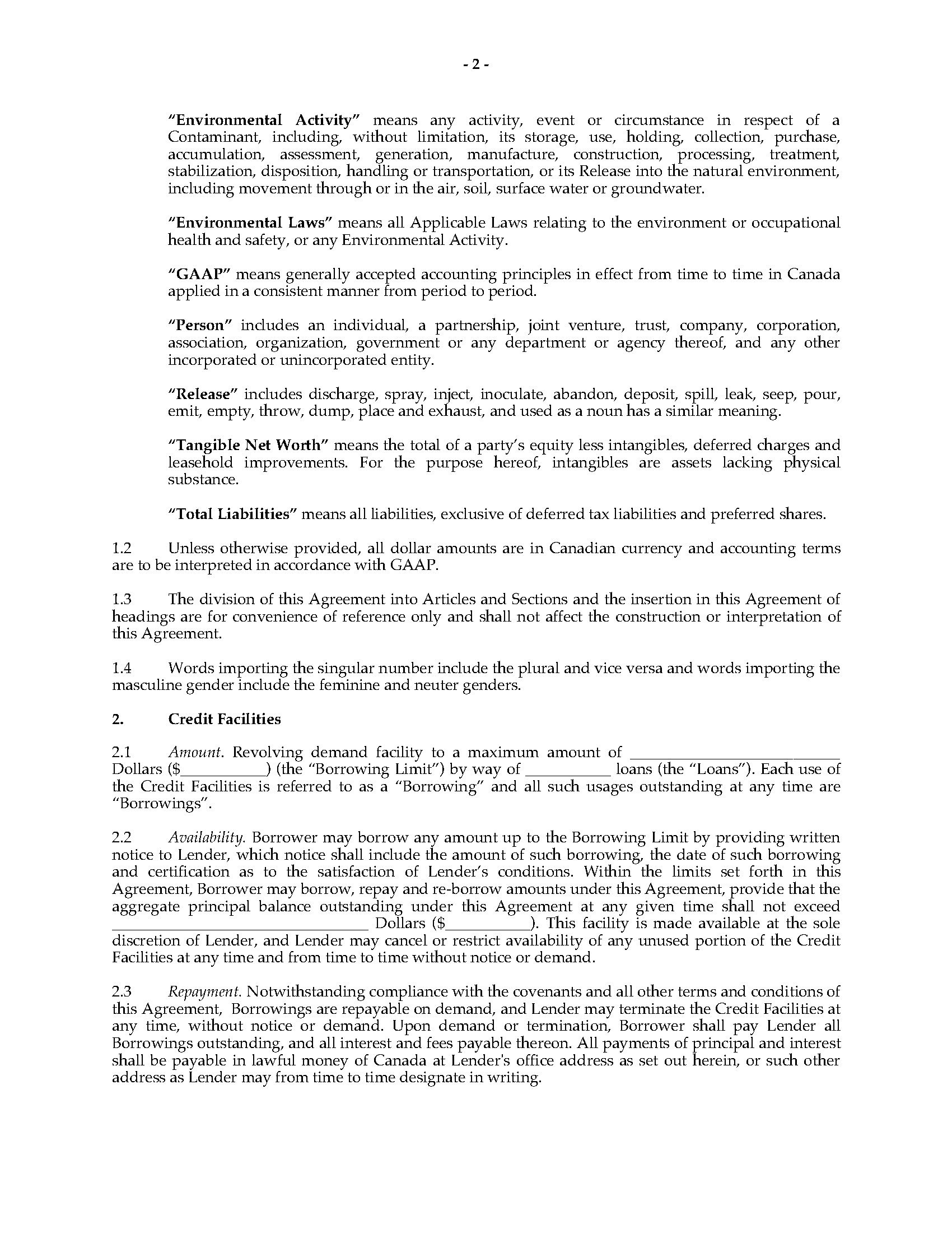 Ontario Revolving Credit Agreement  Legal Forms And Business With Regard To Revolving Credit Facility Agreement Template
