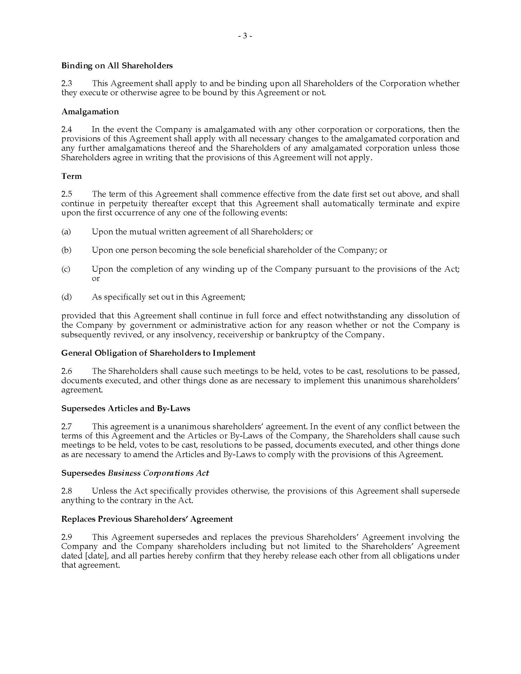 Ontario Unanimous Shareholders Agreement Between Shareholders And Regarding Termination Of Shareholders Agreement Template