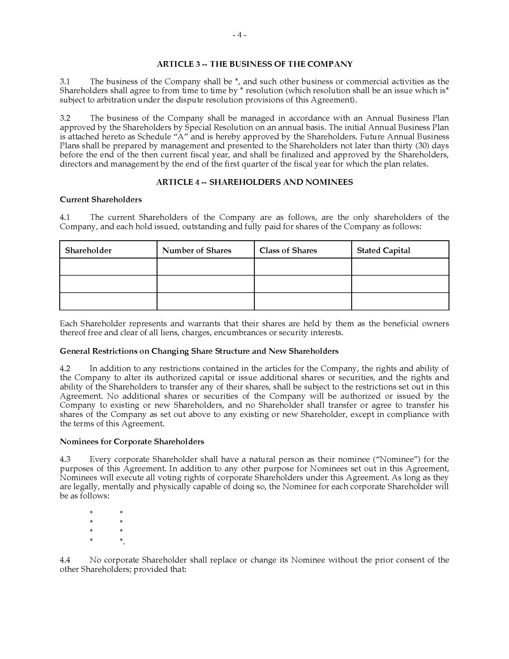 Ontario Unanimous Shareholders Agreement Between Shareholders And Within Nominee Shareholder Agreement Template