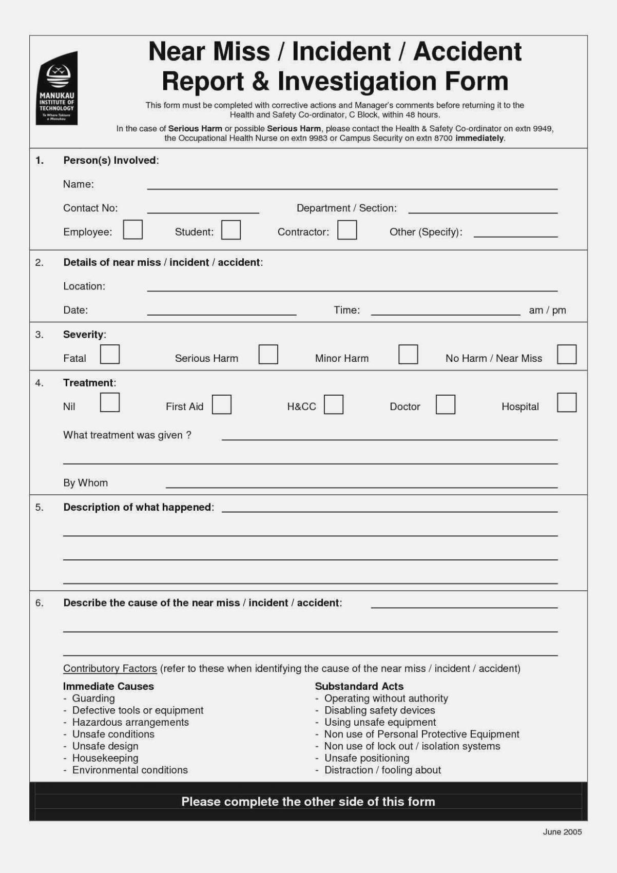 Osha Safety Incident Report Form  Sansurabionetassociats Inside Near Miss Incident Report Template