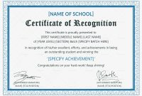 Outstanding Student Recognition Certificate Design Template In Psd Word intended for Template For Recognition Certificate
