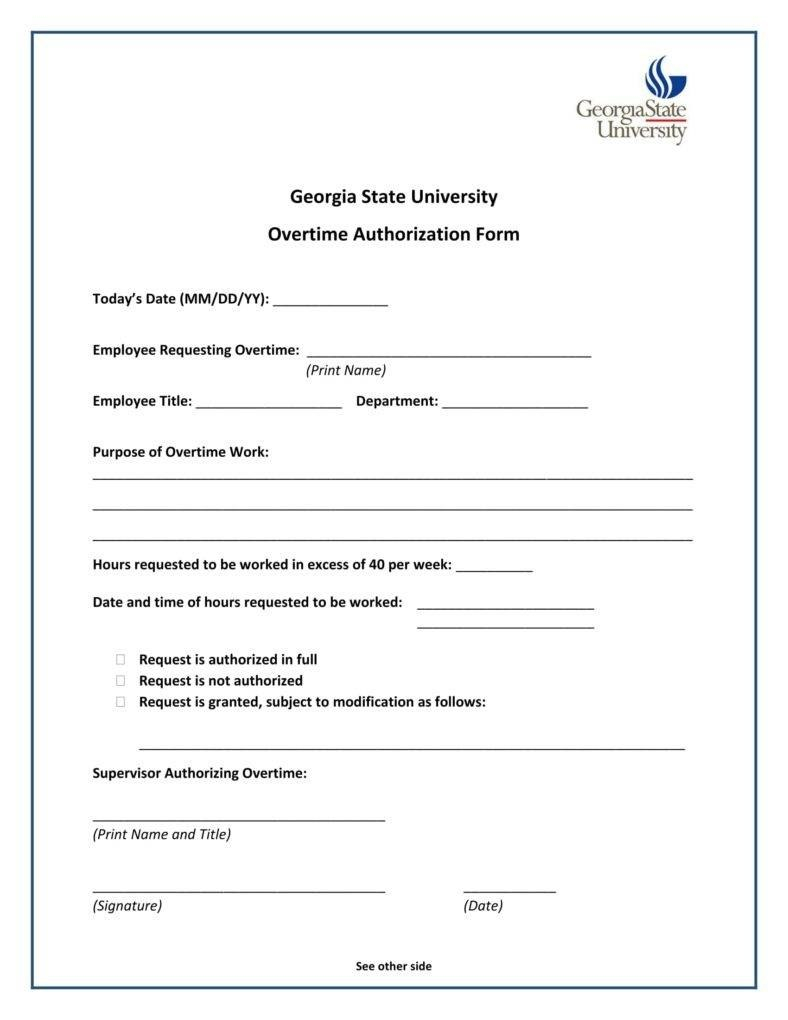 Overtime Authorization Forms  Templates  Pdf Doc  Free Regarding Overtime Agreement Template