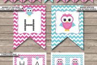Owl Birthday Banner Template  Birthday Banner  Editable Bunting  Pink for Diy Birthday Banner Template