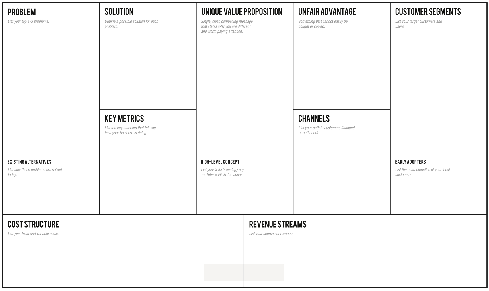 Page Business Plan  Leanstack In Business Canvas Word Template