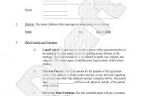 Parenting Plan  Child Custody Agreement Template With Sample with Joint Custody Agreement Template