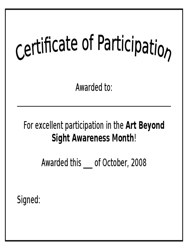 Participation Certificate   Free Templates In Pdf Word Excel Within Certification Of Participation Free Template
