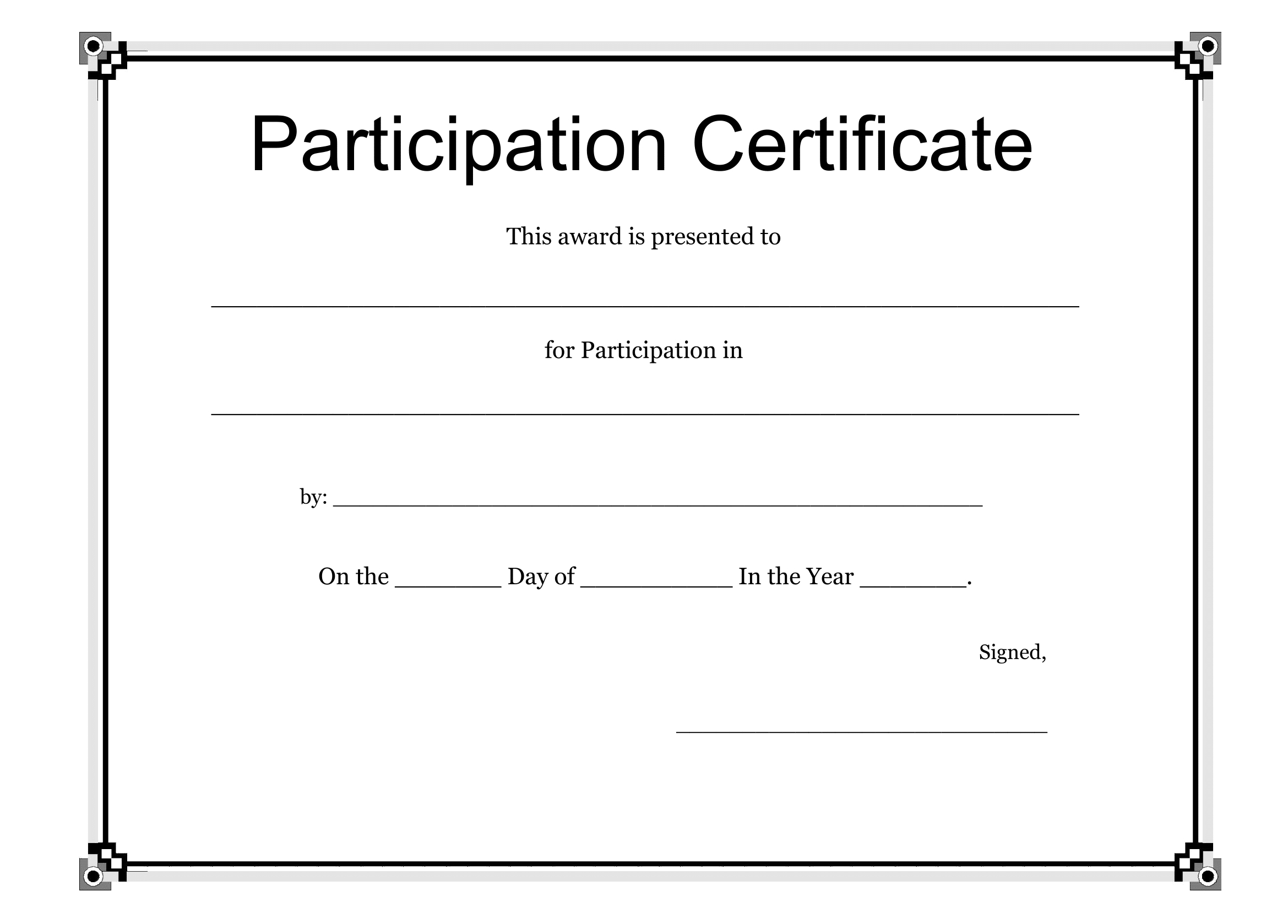 Participation Certificate Template  Free Download Regarding Certification Of Participation Free Template