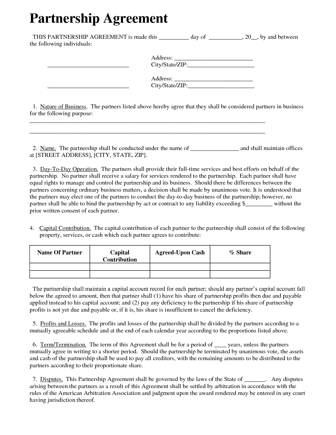 Partnership Agreement  Business Templates  Small Business Plan In House And Flat Share Agreement Contract Template