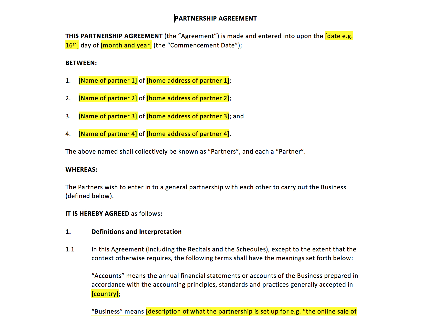 Partnership Agreement Template – Uk Template Agreements And Sample Throughout Template For Business Partnership Agreement