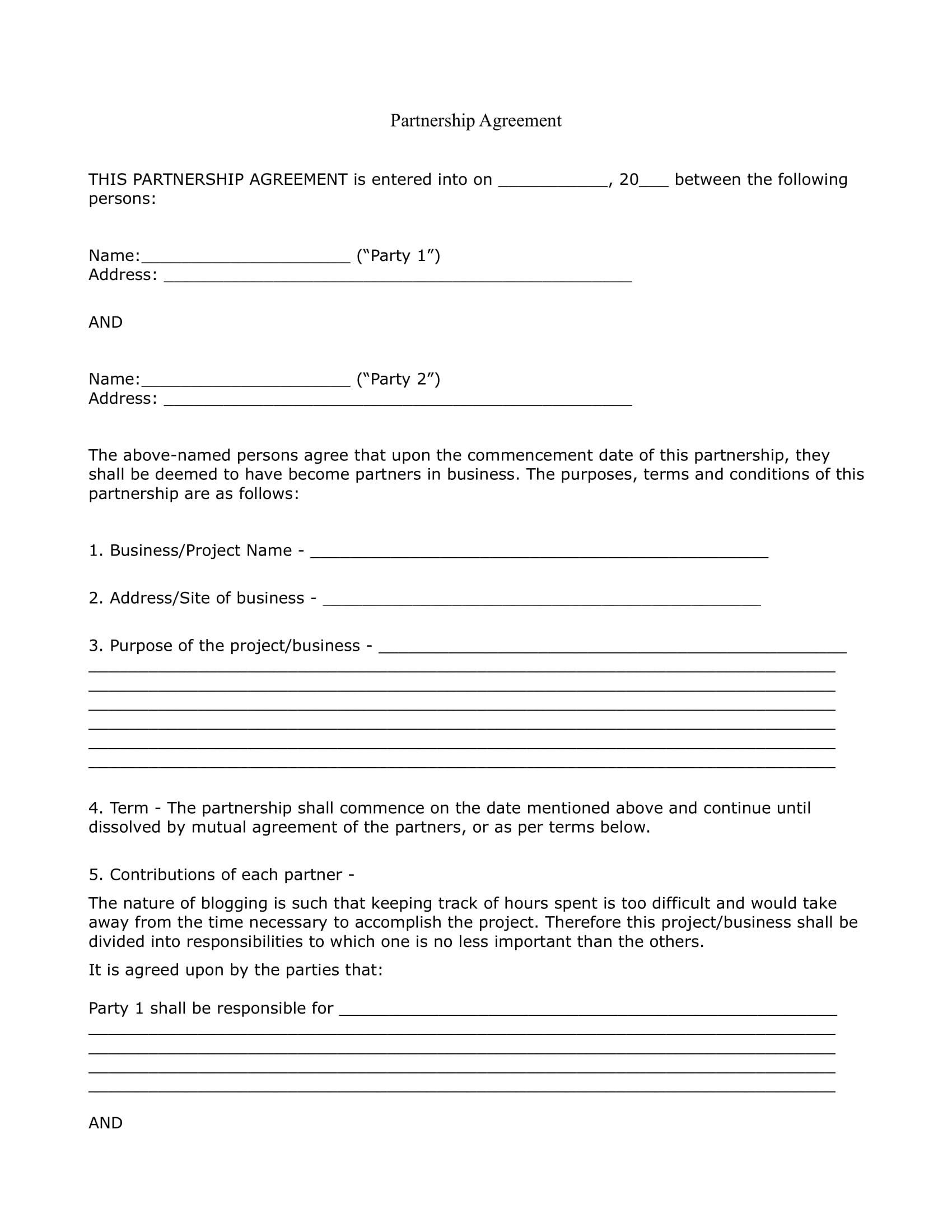 Partnership Agreement Templates Examples  Pdf Doc  Examples Inside Template For Business Partnership Agreement