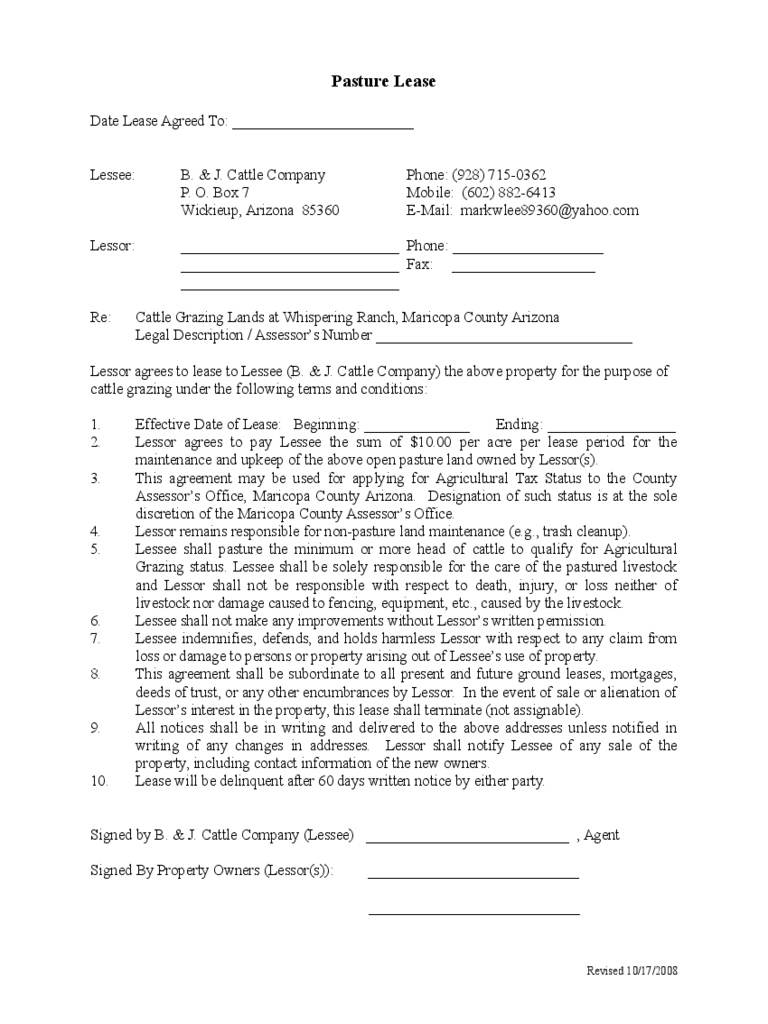 Pasture Lease Agreement   Free Templates In Pdf Word Excel Download Intended For Ranch Lease Agreement Template