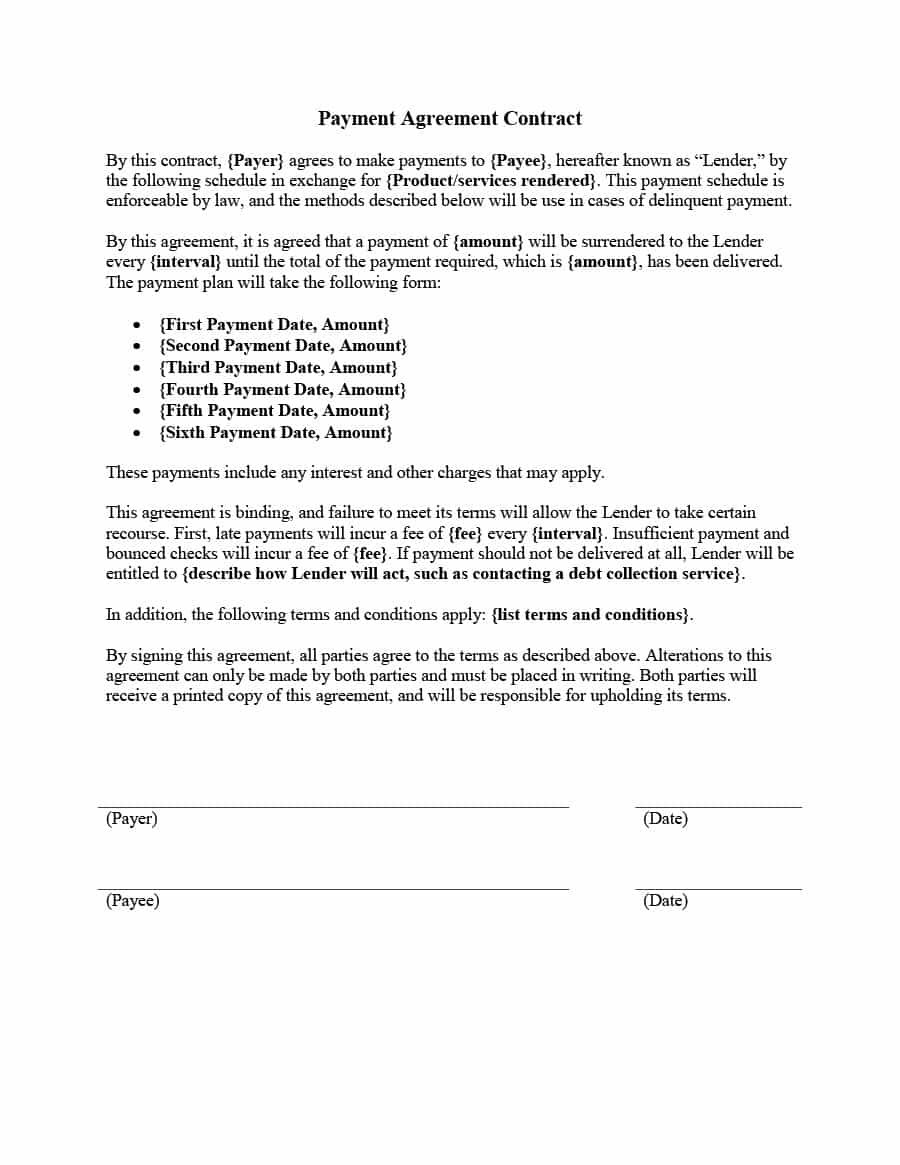 Payment Agreement   Templates  Contracts ᐅ Template Lab With Regard To Payment Terms Agreement Template