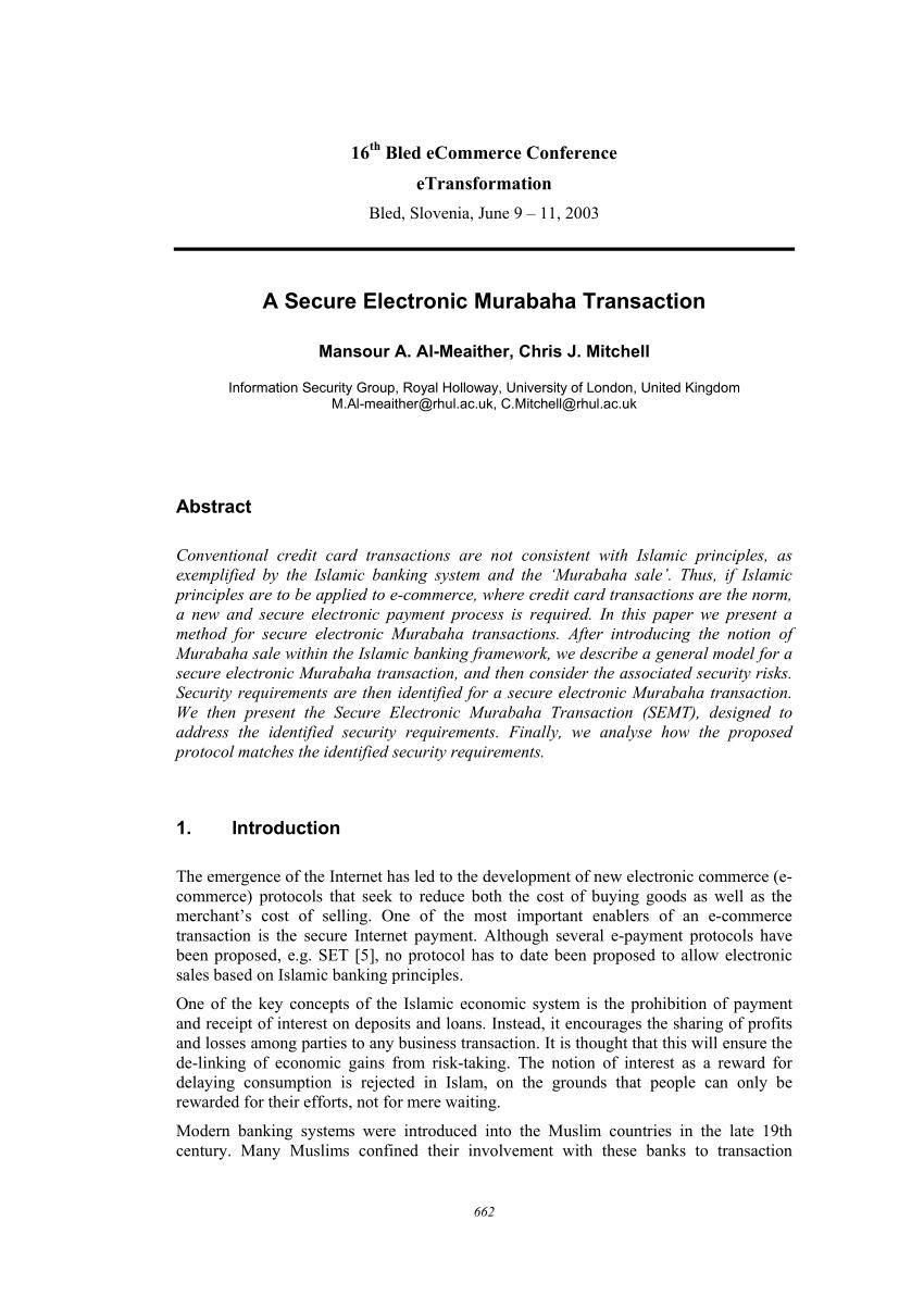 Pdf A Secure Electronic Murabaha Transaction Inside Murabaha Agreement Template