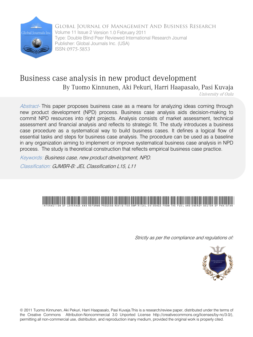 Pdf Business Case Analysis In New Product Development Intended For Product Development Business Case Template