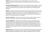 Pdf International Master Franchise Agreements  An Investigation Of with Master Franchise Agreement Template