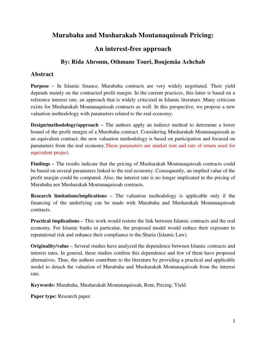 Pdf Murabaha And Musharakah Moutanaquissah Pricing An Interest Pertaining To Murabaha Agreement Template