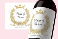 Pdf Template X Editable Wine Label Instant Download Wedding Wine regarding Template For Wine Bottle Labels