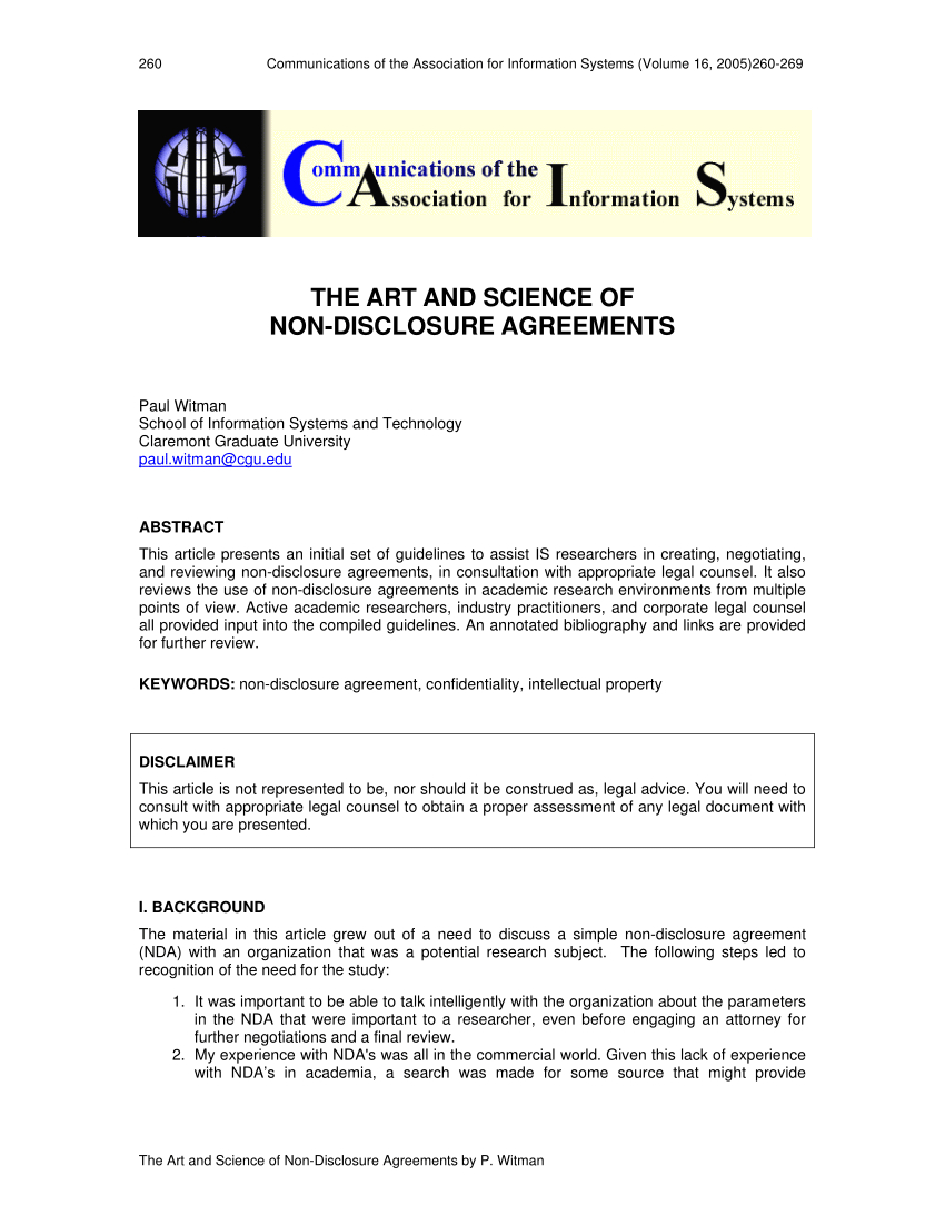 Pdf The Art And Science Of Nondisclosure Agreements Throughout Non Disclosure Agreement Template For Research