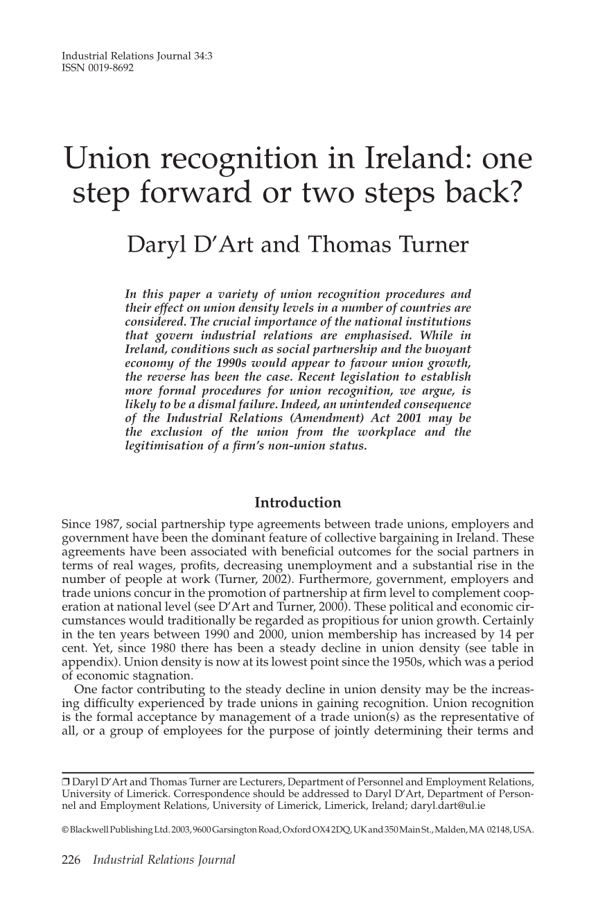 Pdf Union Recognition In Ireland One Step Forward Or Two Steps Back Throughout Trade Union Recognition Agreement Template