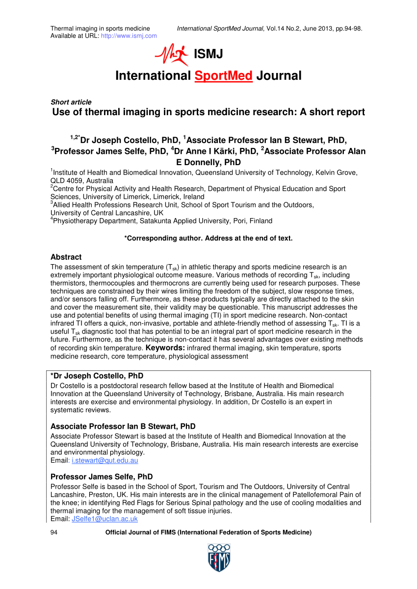 Pdf Use Of Thermal Imaging In Sports Medicine Research A Short Report Inside Thermal Imaging Report Template