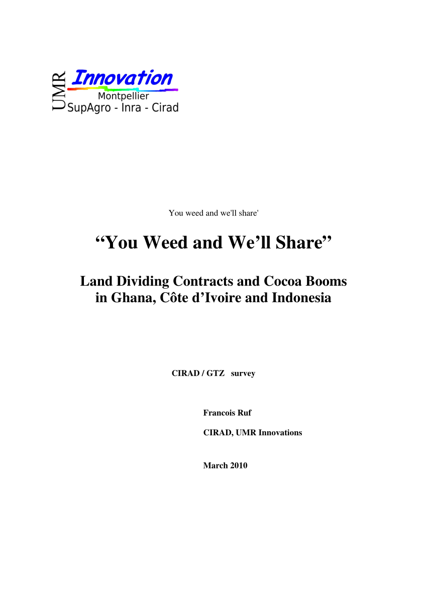 """Pdf """"You Weed And We'll Share"""" Land Dividing Contracts And Cocoa Intended For Share Farming Agreement Template"""