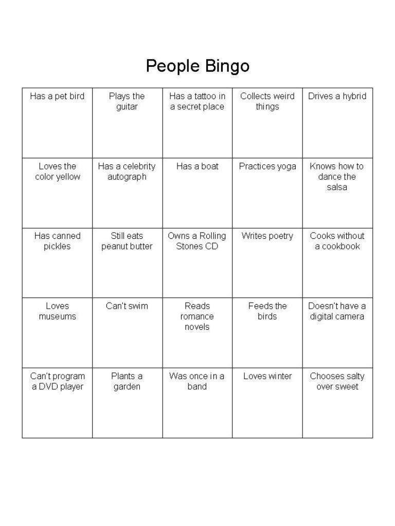 """People Bingo"""" Is A Great Ice Breaker For Adults  Networking Ideas With Regard To Ice Breaker Bingo Card Template"""