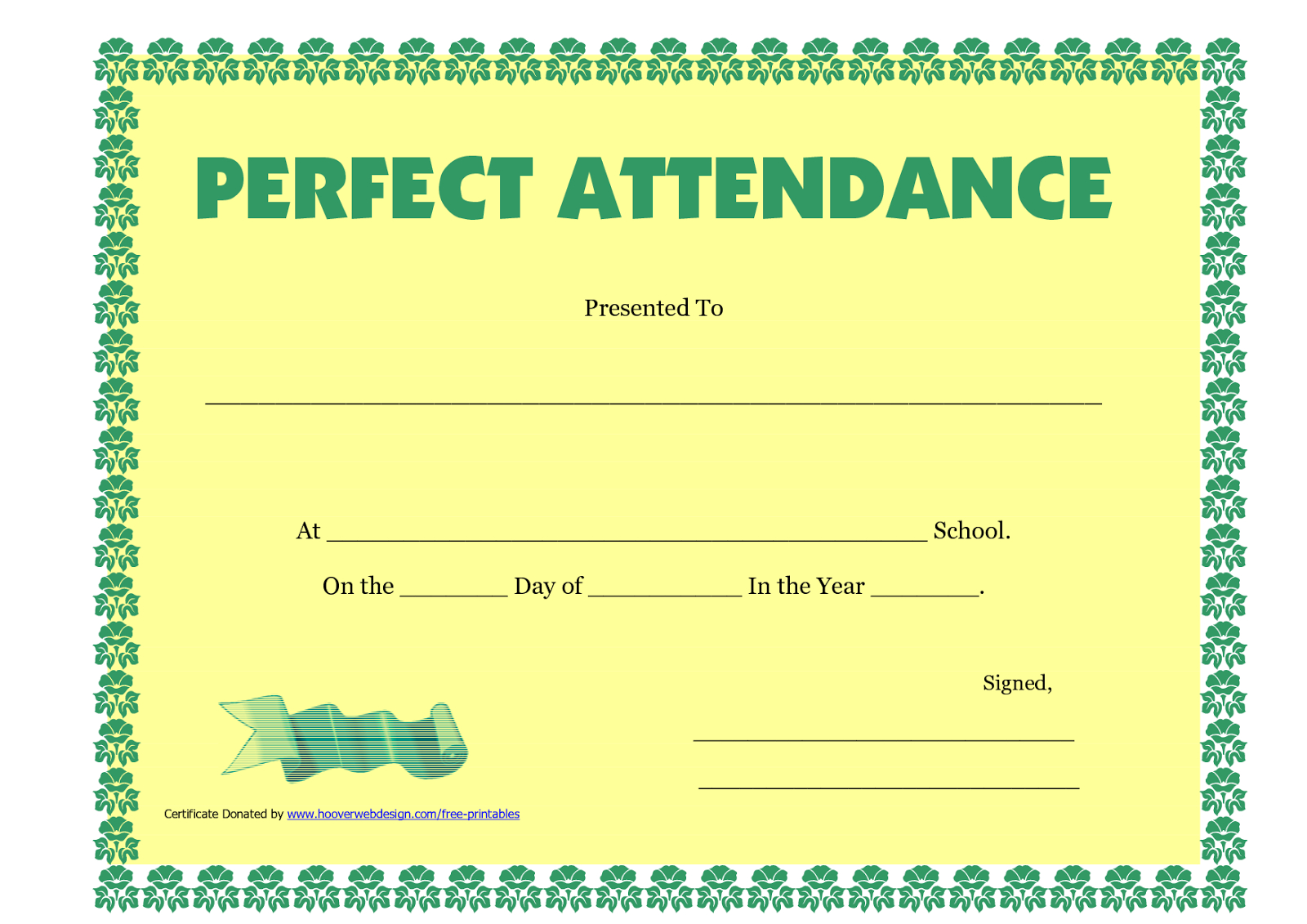 Perfect Attendance Certificate Printable  Free Download  Dtemplates Throughout Perfect Attendance Certificate Free Template