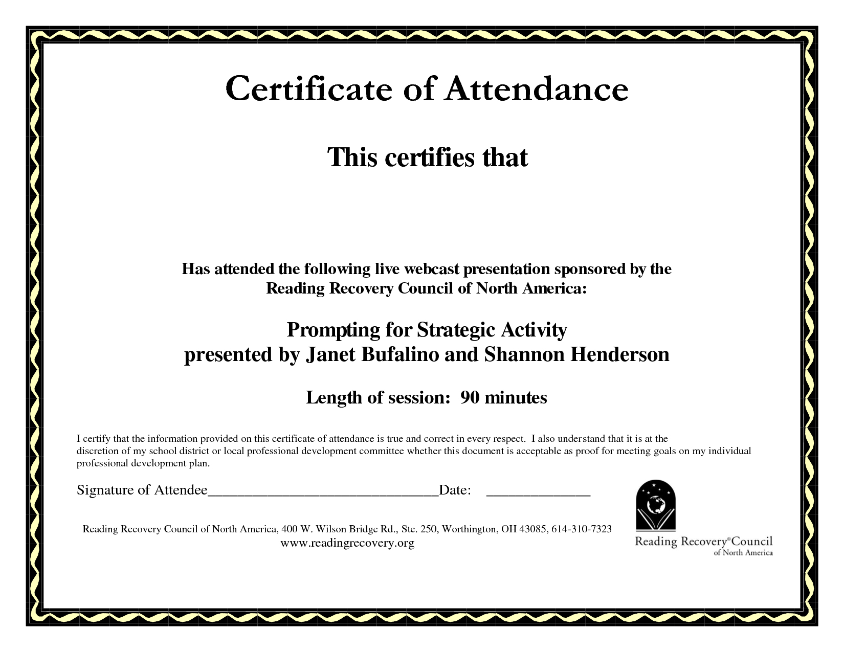 Perfect Attendance Certificate Template Free  Mandegar Regarding Perfect Attendance Certificate Template