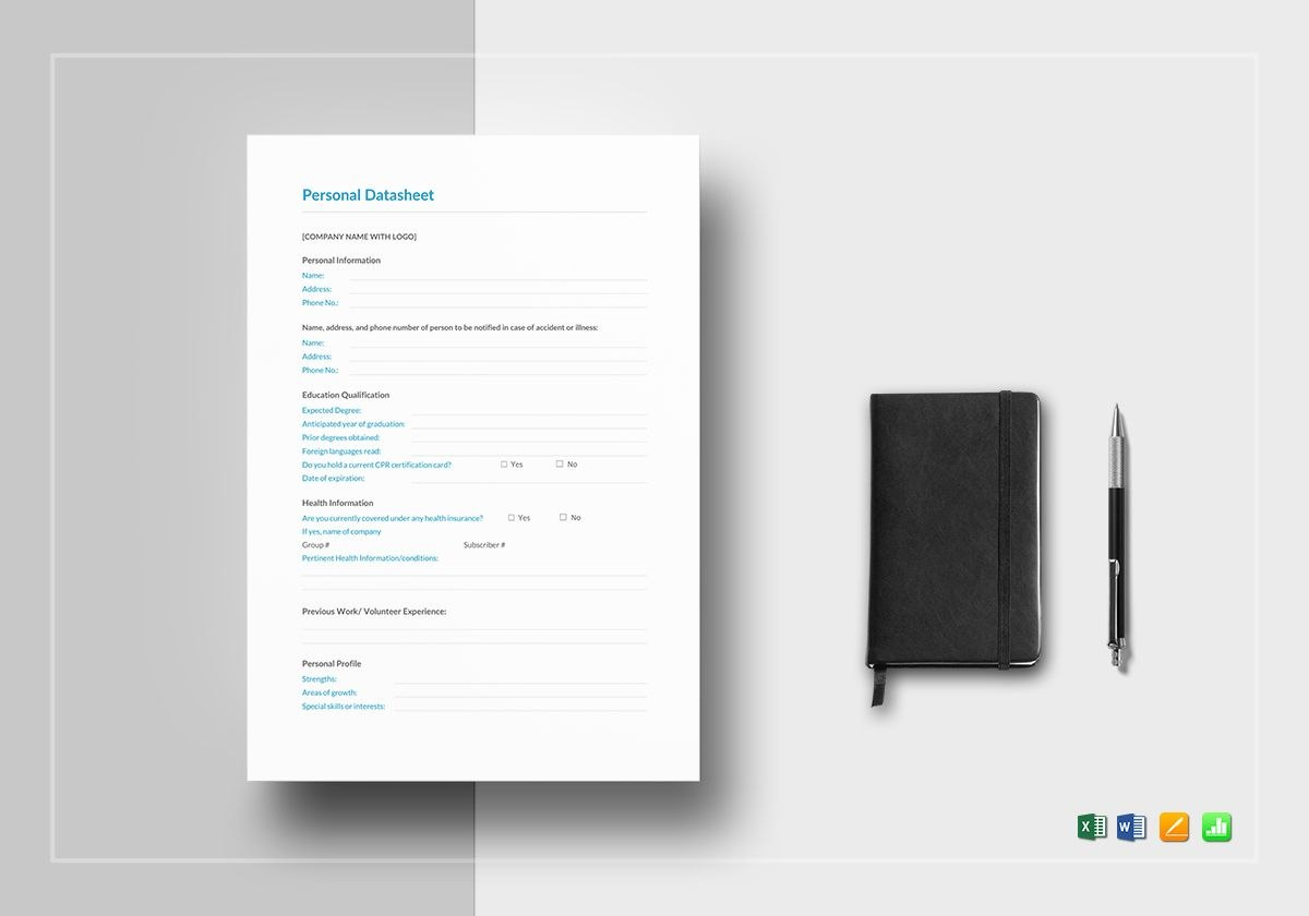 Personal Datasheet Template In Word Excel Apple Pages Numbers For Datasheet Template Word