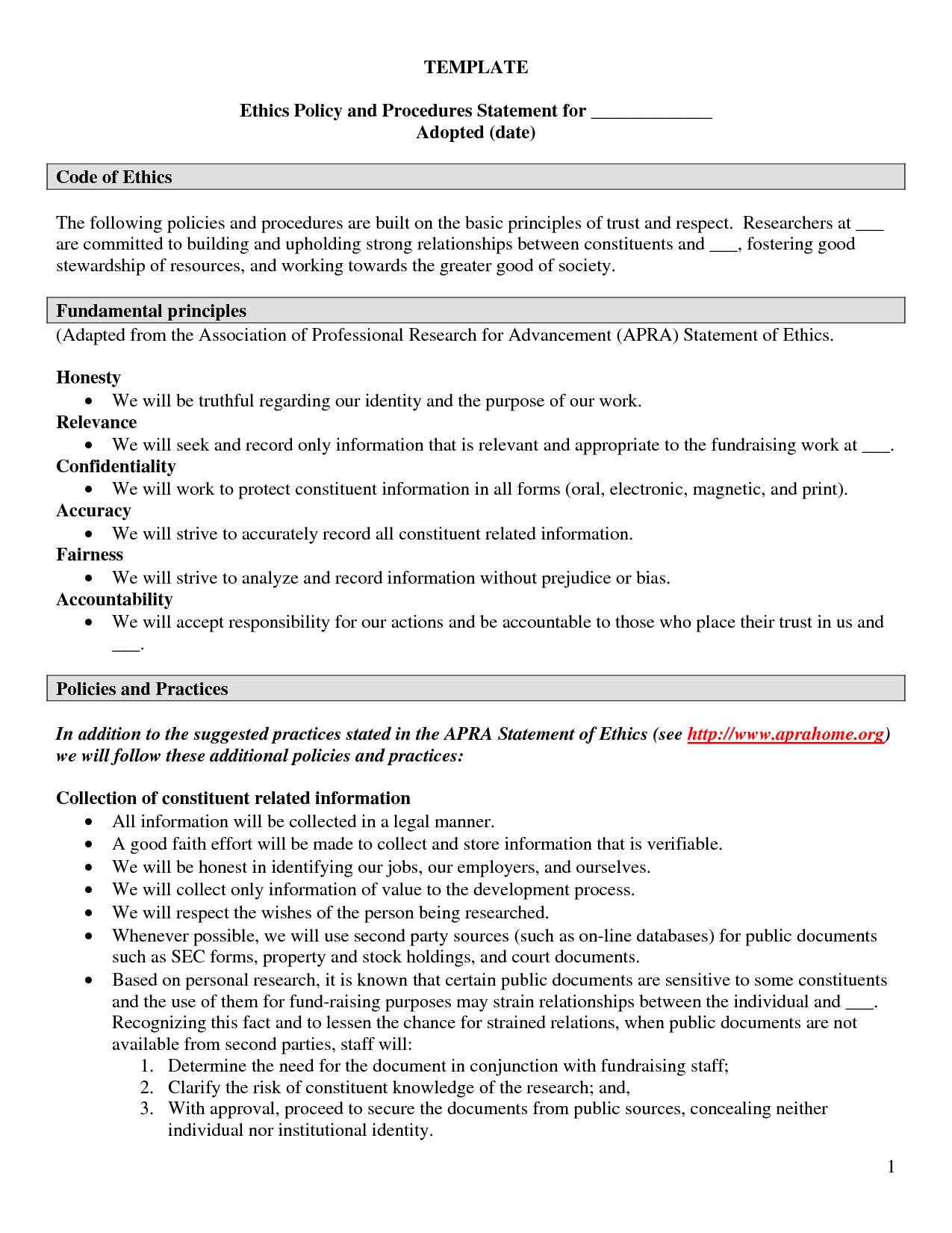 Personal Ethics Statement Example Faourcx  Penv  Business Ethics Inside Business Ethics Policy Template