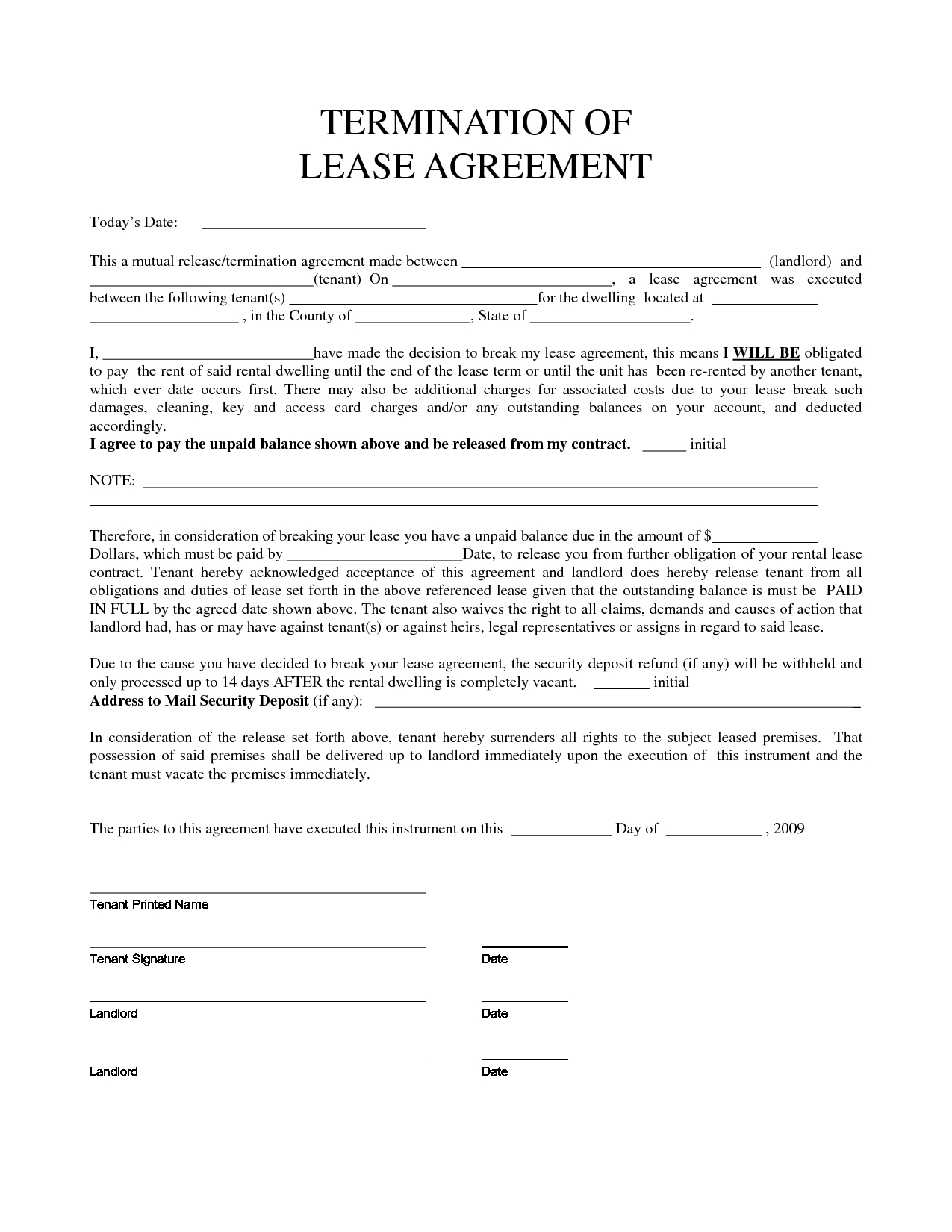 Personal Property Rental Agreement Forms  Property Rentals Direct Within Surrender Of Lease Agreement Template