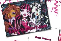 Personalised Monster High Birthday  Any Greetings Card A Your Name throughout Monster High Birthday Card Template