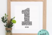 Personalised St Anniversary Gift  Word Art  Printable Gift pertaining to Word Anniversary Card Template