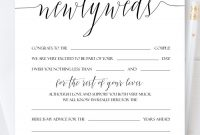 Personalized Newlyweds Advice Cards Script Wedding Advice Card For in Marriage Advice Cards Templates