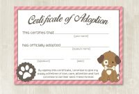 Pet Adoption Certificate Printable Templates – Yasminroohi within Pet Adoption Certificate Template